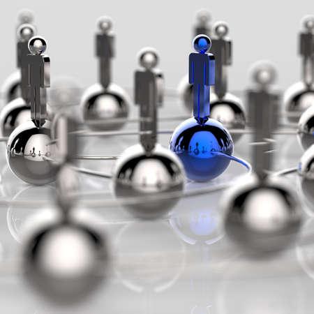 strategy: 3d red social humana inoxidable y liderazgo como concepto Foto de archivo