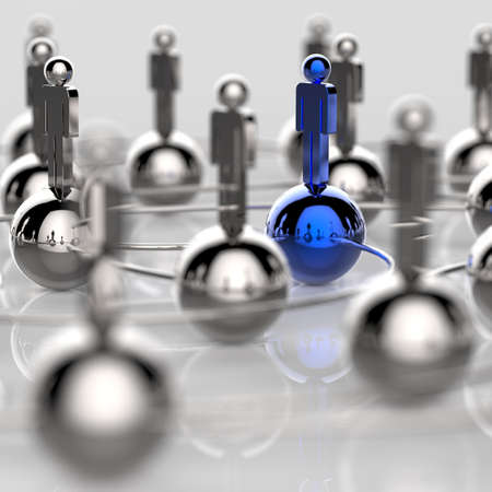 3d stainless human social network and leadership as concept Stock Photo - 18989208