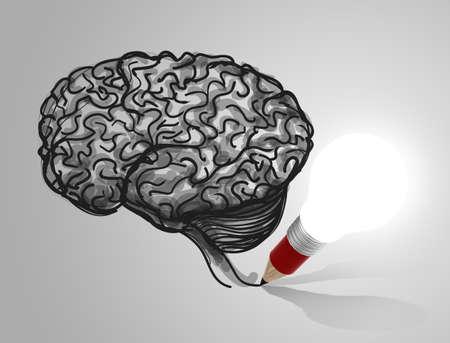 3d pencil lightbulb drawing brain as education concept photo