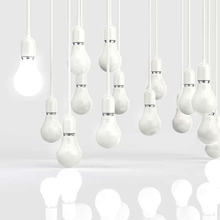 innovating: creative idea and leadership concept light bulb 3d design