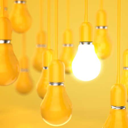 creative idea and leadership concept light bulb 3d design concept photo