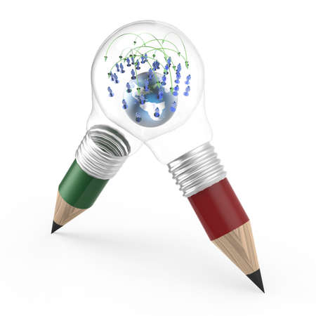 the earth and social network inside a pencil lightbulb as creative concept