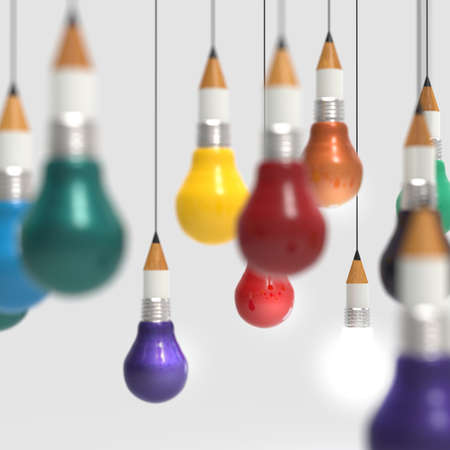 edison: drawing idea pencil and light bulb concept creative and leadership as concept