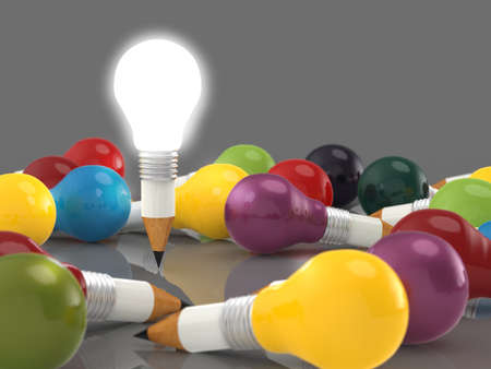 edison: drawing idea pencil and light bulb concept creative and leadership concept Stock Photo