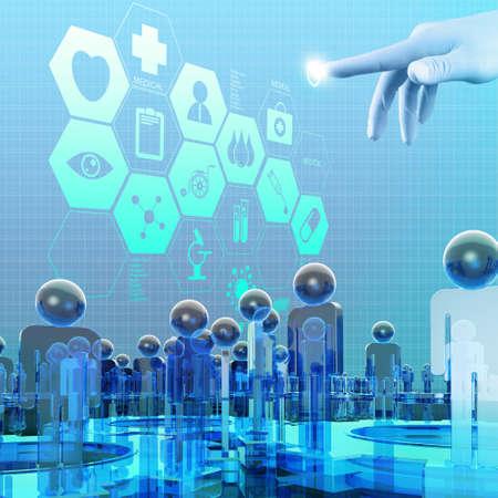 Доктор медицины руку работаем с современным интерфейсом компьютера, как медицинское понятие