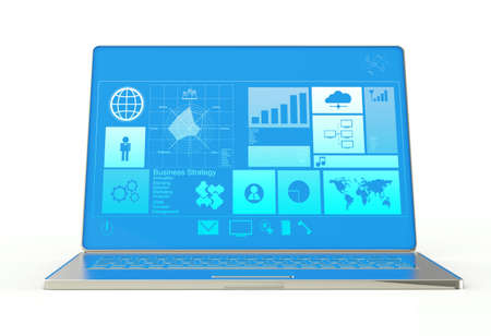 laptop notebook ultrabook with new inteface as concept photo