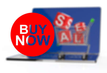 buy now on laptop computer with cart as concept Stock Photo - 18988718