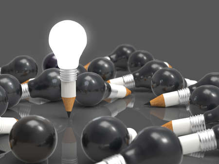 drawing idea pencil and light bulb concept creative and leadership concept photo