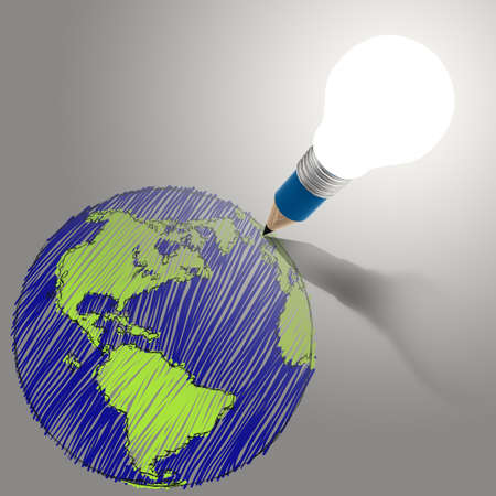 pencil creative light bulb head drawing the earth as concept Stock Photo - 18989092