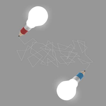 3d creative pencil lightbulb drawing idea as concept creative  photo