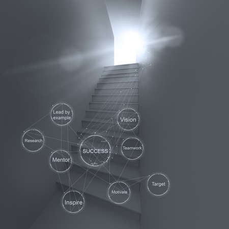 3d abstract stairway to success as business concept photo