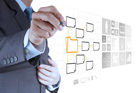 absence: businessman hand drawing an empty diagram on new computer interface as concept