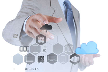 computer services: businessman hand showing about cloud network idea concept Stock Photo
