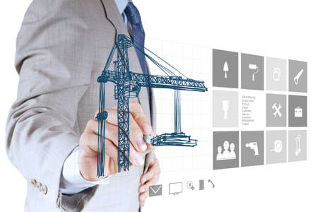 m?o engenheiro que trabalha com computador novo show interface conceito de desenvolvimento edif?cio