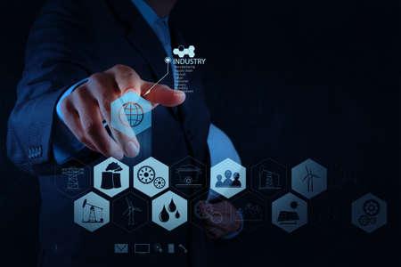 carbone: ingegnere lavora diagramma industria sul computer virtuale come concetto