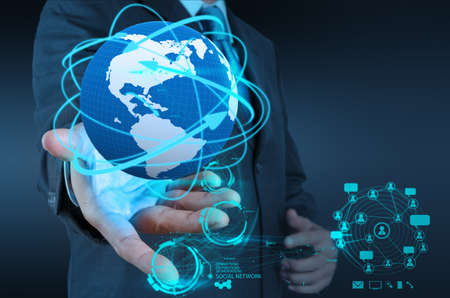 trabajo social: empresario de la mano de trabajo con el nuevo espect?culo de la estructura social de la red inform?tica moderna