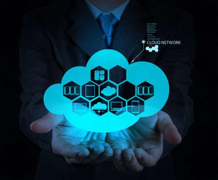 computer service: Gesch�ftsmann Hand zeigt �ber Cloud-Netzwerk-Design Idee als Netzwerk-Konzept Lizenzfreie Bilder
