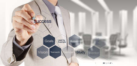 mission: businessman hand shows diagram of business success chart as concept Stock Photo