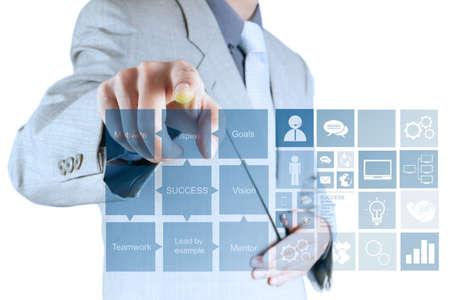 business model: businessman hand draws business success chart concept on virtual screen