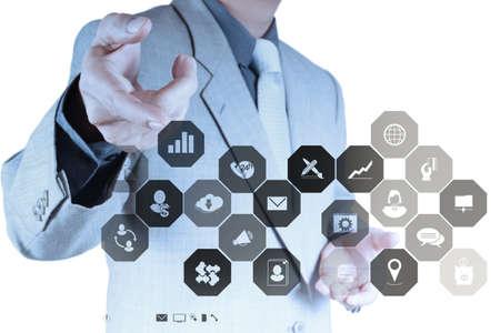 mano de negocios que trabaja con la computadora nueva, moderna y estrategia de negocio como concepto