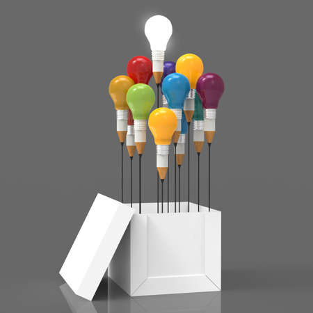 innovation concept: drawing idea pencil and light bulb concept outside the box as creative and leadership concept