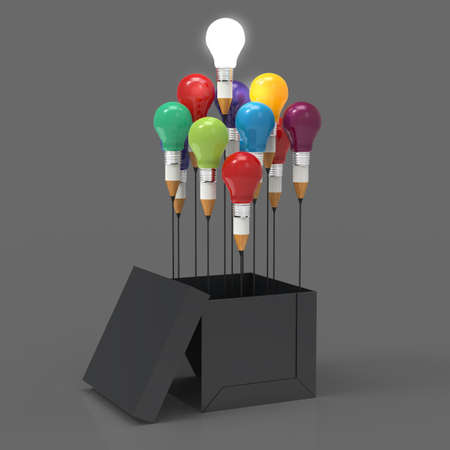 pencil box: drawing idea pencil and light bulb concept think outside the box as creative and leadership concept Stock Photo