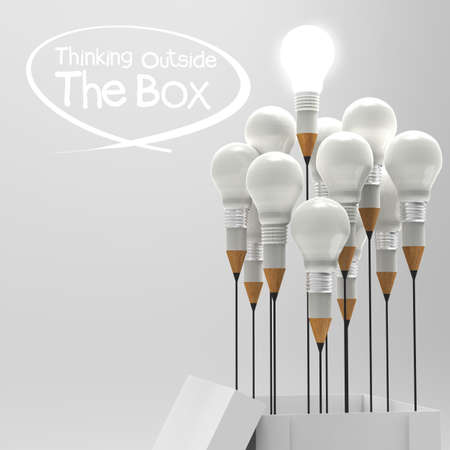 drawing idea pencil and light bulb concept outside the box as creative and leadership concept Stock Photo - 19646593
