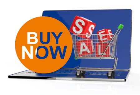 sell shares: buy now on laptop computer with cart as concept