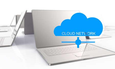 3d laptop showing a cloud as concept of cloud computing graphic design photo
