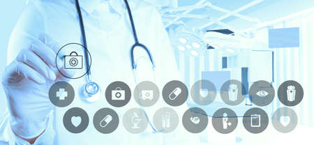 Medicine doctor hand working with modern computer interface as medical concept Stock Photo - 19646235