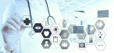 medical eye care: Medicine doctor hand working with modern computer interface as medical concept