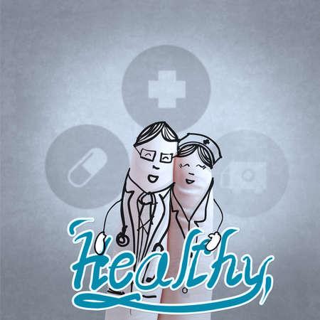 medico caricatura: dedo de guante como m?dico y la enfermera de la celebraci?n concepto t?rmino m?dico saludable