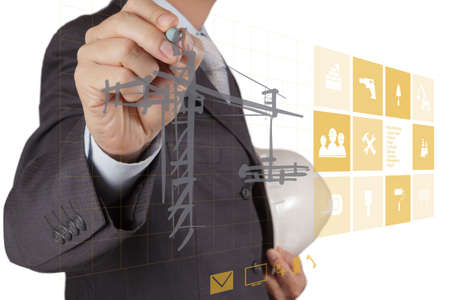 engineer hand working with new computer interface show building development concept photo
