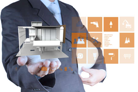 engineer hand shows house model as concept Stock Photo - 19646639
