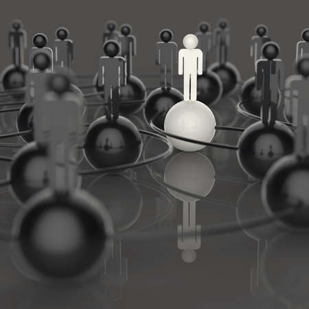3d white and black and red human social network and leadership as concept photo