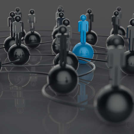 3d stainless human social network and leadership as concept photo