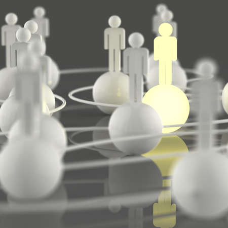 net meeting: 3d growing light human social network and leadership as concept