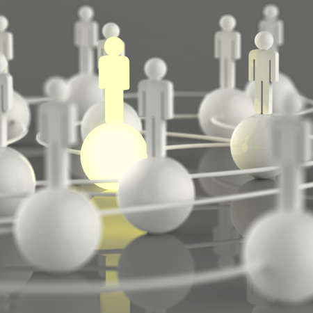 3d growing light human social network and leadership as concept photo