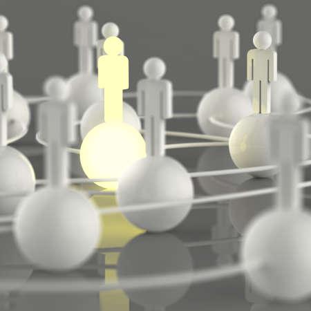 Crescente luz rede social do ser humano 3d e lideran�a como conceito