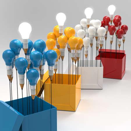 pensamiento creativo: dibujo idea l?piz y concepto de la bombilla pensar fuera de la caja como concepto creativo y de liderazgo Foto de archivo