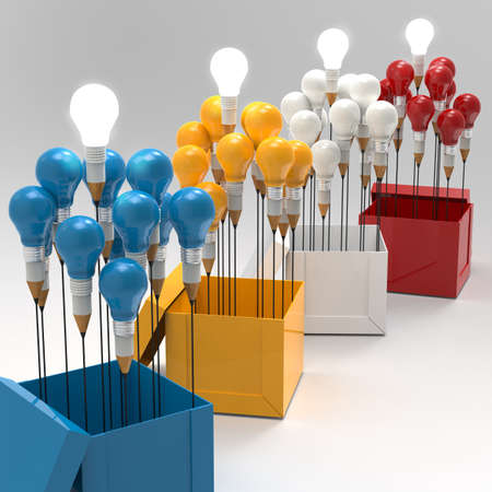 best ideas: drawing idea pencil and light bulb concept think outside the box as creative and leadership concept Stock Photo