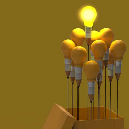 lider: dibujo idea l?piz y concepto de la bombilla pensar fuera de la caja como concepto creativo y de liderazgo Foto de archivo
