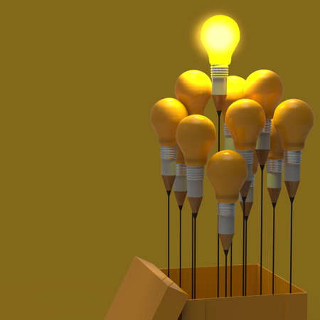 leader: drawing idea pencil and light bulb concept think outside the box as creative and leadership concept Stock Photo
