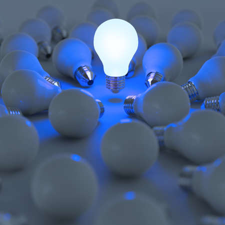 different concept: 3d growing light bulb standing out from the unlit incandescent bulbs as leadership concept