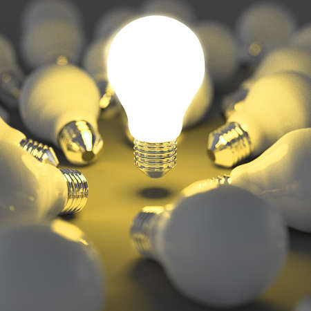 innovation technology: 3d growing light bulb standing out from the unlit incandescent bulbs as leadership concept