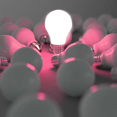 think different: 3d growing light bulb standing out from the unlit incandescent bulbs as leadership concept
