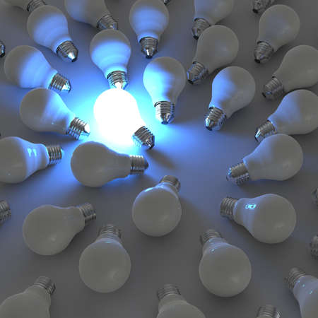 incandescent: 3d growing light bulb standing out from the unlit incandescent bulbs as leadership concept
