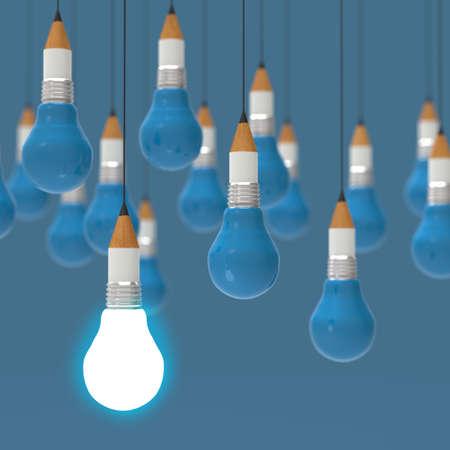 creative idea and leadership concept with 3d light bulb as concept photo