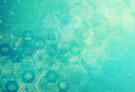 medical art: Abstract metal 3d molecules medical background Stock Photo