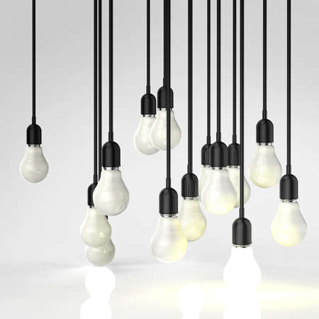 filaments: creative idea and leadership concept with growing 3d light bulb Stock Photo